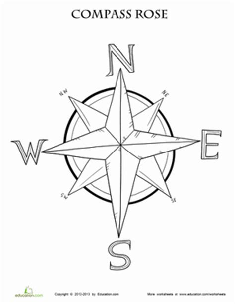 coloring page of compass rose compass rose worksheet education com