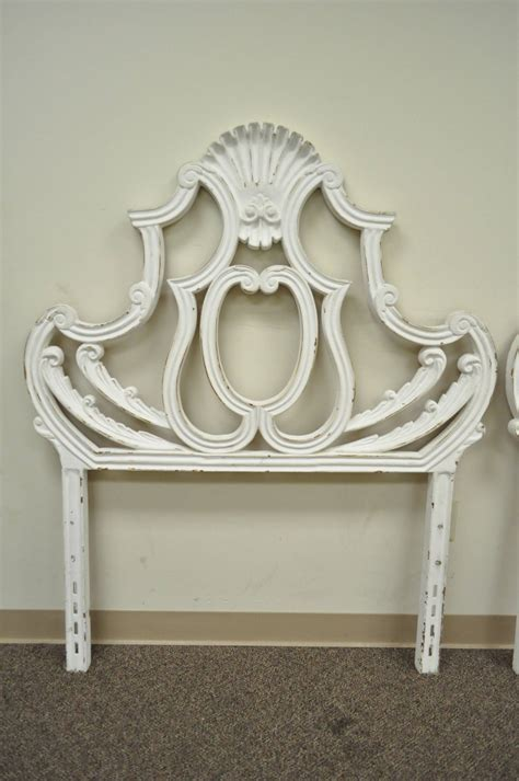 french style single headboards pair of vintage shell form cast aluminum french rococo