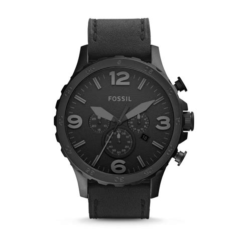 Fossil Jr 1390 Original Leather nate chronograph black leather fossil
