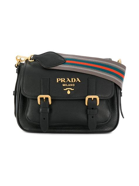 Buckle Crossbody Bag lyst prada buckle flap crossbody bag in black