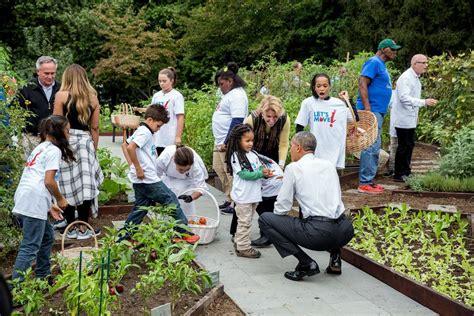 President Barack Obama Joins First Lady Michelle Obama For Obama Vegetable Garden