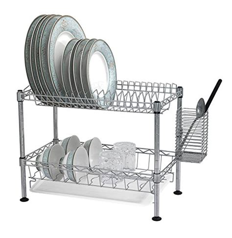 5 tier stainless steel chrome kitchen organizer 2 tier steel wire dish rack dryer with