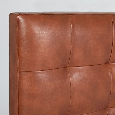 grid tufted headboard faux leather west elm