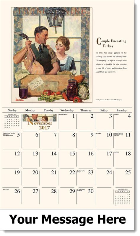 Calendar When Is Thanksgiving Norman Rockwell Promo Calendar Rockwell Calendar