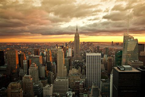 new york skyline sunset by brian