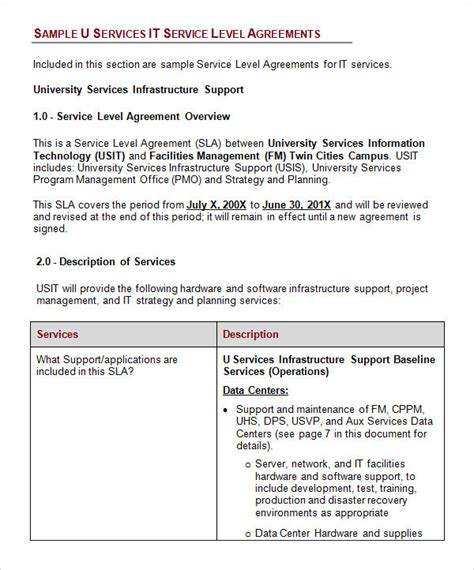 it support service contract template service level agreement template for it support service