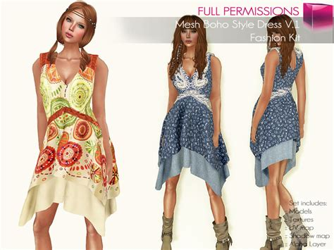 what is bohemian style second life marketplace full perm rigged mesh boho style