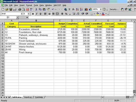 accounting standard cost card template cost controller for excel contractor management software
