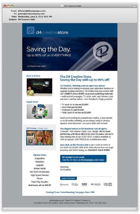 D4 Creative Email Blast Dina Cicchini I Graphic Design Email Blast Design Templates
