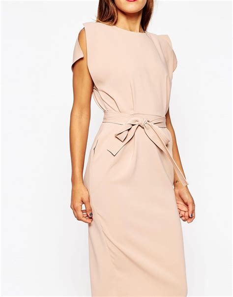 asos asos belted midi dress with split cap sleeve and