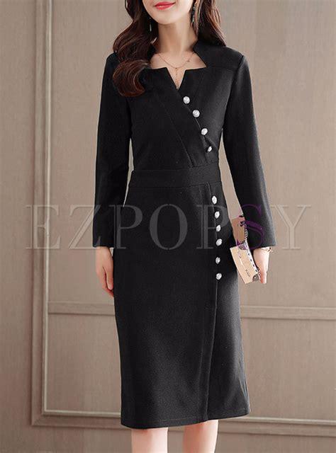 Asymmetric Skater Dress 9487 Black black asymmetric neck buttoned skater dress ezpopsy