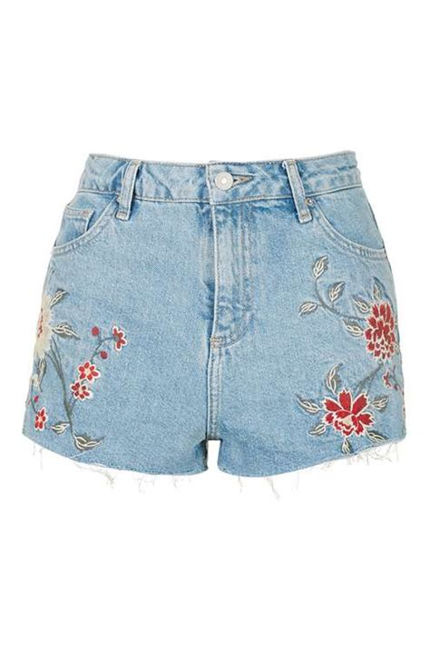Embroidery Denim Shorts moto embroidered shorts shorts clothing topshop