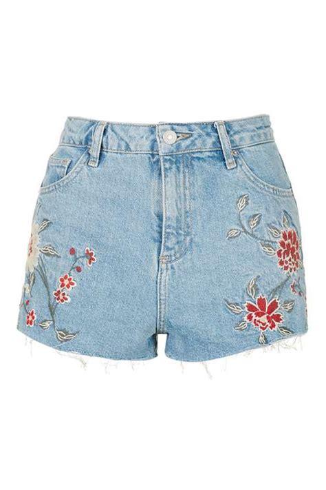 embroidery denim shorts moto embroidered shorts shorts clothing topshop