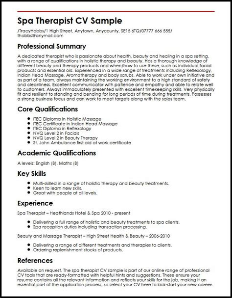 resume profile for therapist 28 images sle therapist