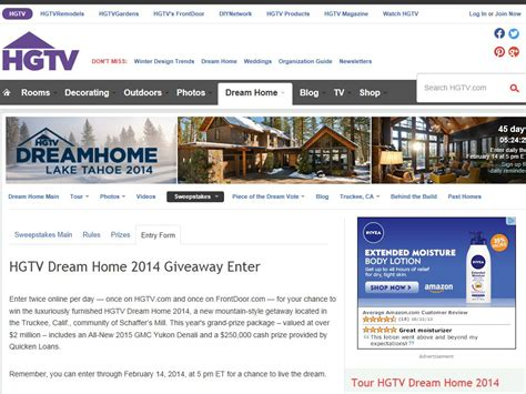 Home Contests Sweepstakes - entry form for hgtv 2014 dream home sweeps entry form upcomingcarshq com
