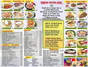king taco menu azusa dineries