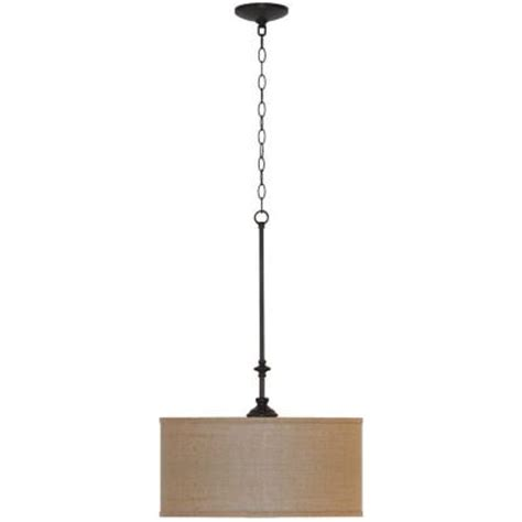 hton bay quincy 3 light rubbed bronze drum pendant