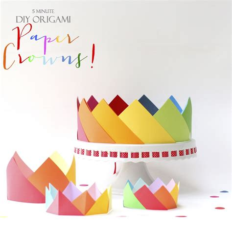 Origami Birthday Box - simple origami crowns