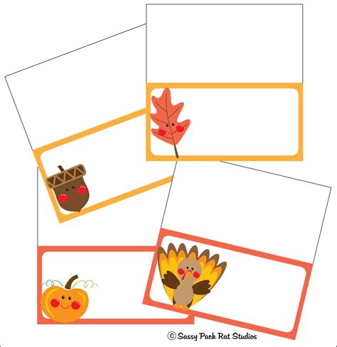 printable fall place cards template the sassy pack rat thanksgiving place card printable freebie