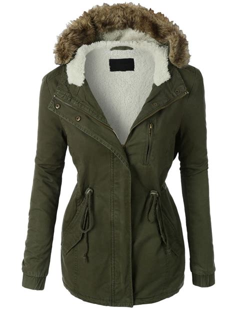 Word O Ryu Outer Army Green womens sherpa lined anorak parka jacket with hoodie