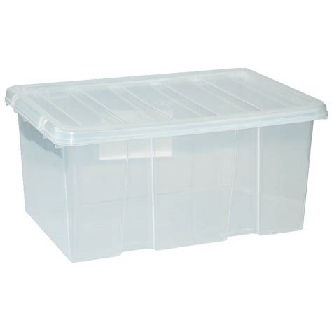 large plastic storage clear box with clear lid container made in u k set of 3 ebay
