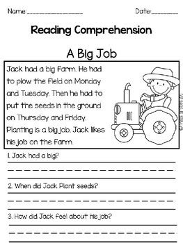 Reading Comprehension Passages: Farm Theme by A Place of