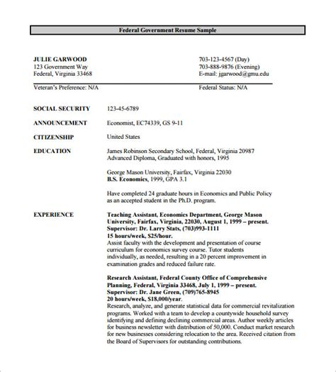 federal resume exles federal resume template 10 free word excel pdf format
