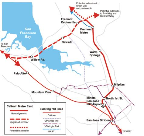 san jose caltrain map caltrain metro east bayrail alliance