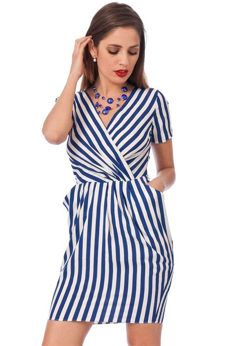 Dress Stripe shakara shop white blue stripe dress