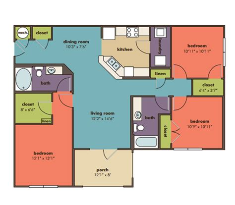 3 bedroom and 3 bathroom apartments 3 bedroom 2 bathroom apartment floor plan image bathroom