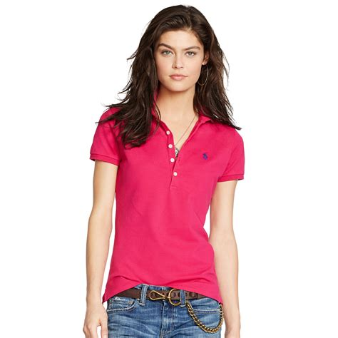 Blouse Qorry Polo Pink lyst polo ralph stretch polo shirt in pink
