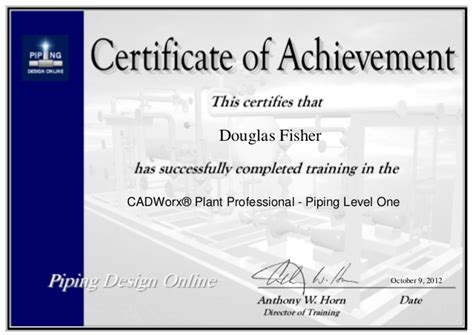 piping design certificate hccs cadworx piping level one certificate piping designer online