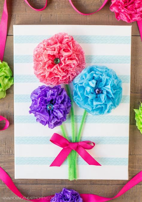 crafts to make with tissue paper tissue paper flower bouquet canvas tutorial s day