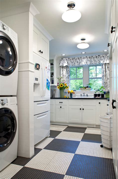 Marvelous American Oleanin Laundry Room Traditional With Black And White Laundry