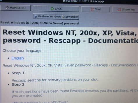 reset vista password with linux resetear password de inicio en windows7 vista xp taringa