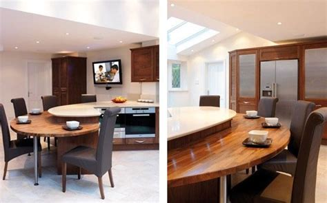 Narrow Kitchen With Island Large Circular Breakfast Bar Google Search Kitchen