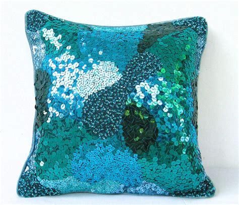 Sequin Decorative Pillows by Teal Green Sequin Pillow Green Throw Pillow Emerald Pillow