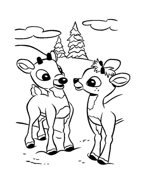 coloring pages christmas reindeer christmas reindeer fawns coloring pages hellokids com