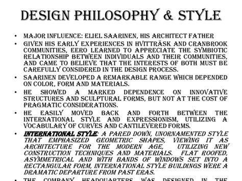 Interior Design Philosophy Exles by Eero Saarinen