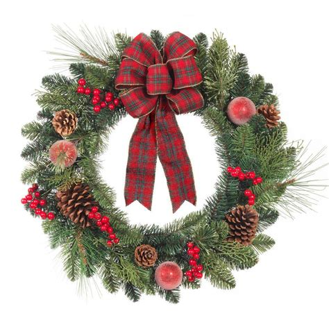 home accents 24 in artificial pine wreath with
