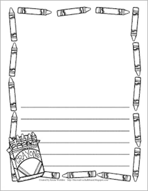 printable writing paper with crayon border 17 best images about free writing papers for kids on