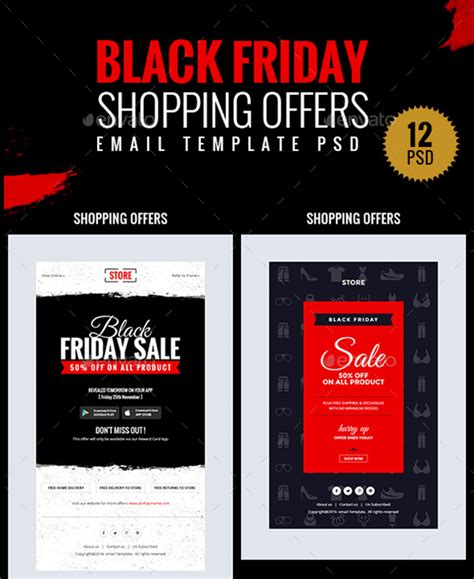 Black Friday And Cyber Monday Flyers Objects Cards Email Newsletters And More Gt3 Themes Black Friday Email Template