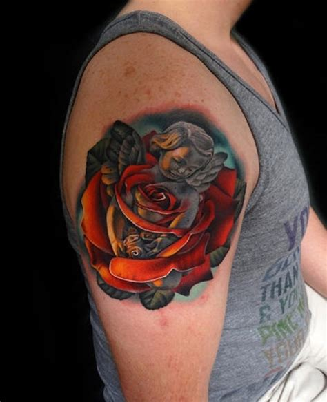 angel and rose tattoo designs 63 fantastic shoulder tattoos