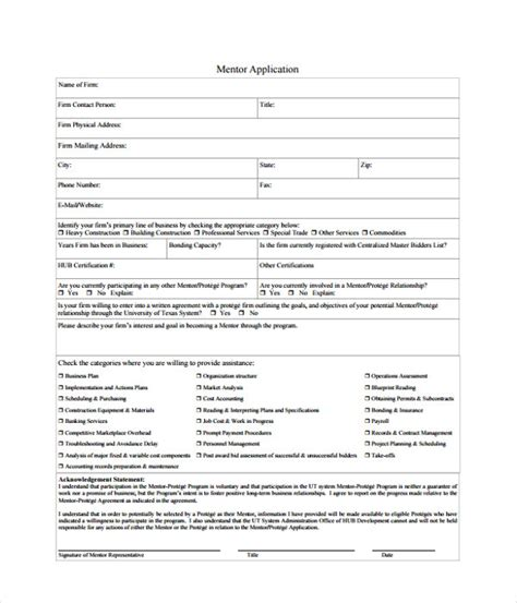 Application Template 18 Free Word Pdf Documents Download Mentor Program Application Template