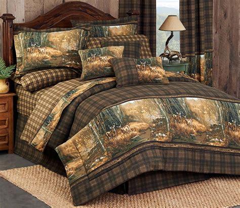 deer comforter sets queen deer scene plaid comforter set queen