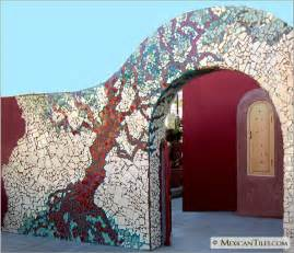ideas mosaic wall:  com exterior fence wall with broken mosaic mexican talavera tiles
