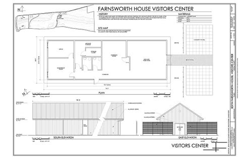 farnsworth house plans site map plan and south east elevations edith farnsworth house visitors center