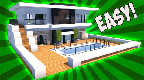 minecraft modern house tutorial minecraft how to make a house with a pool www pixshark