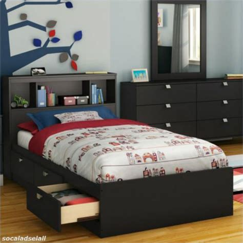 size bed frame storage bookcase headboard modern