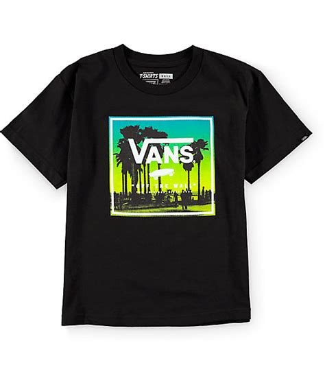T Shirts Vans vans boys palms boxed black t shirt
